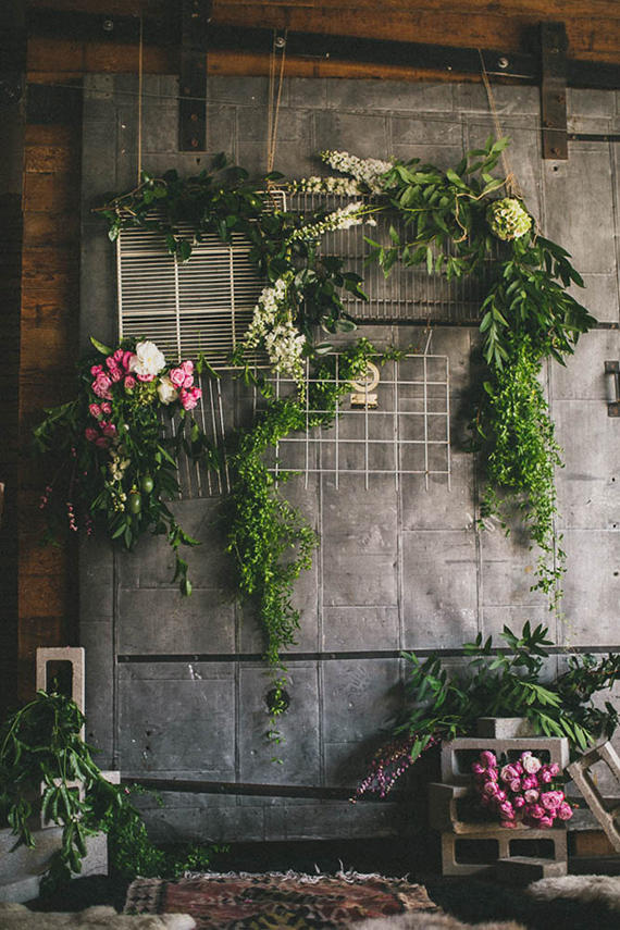 concrete wall wedding styling idea