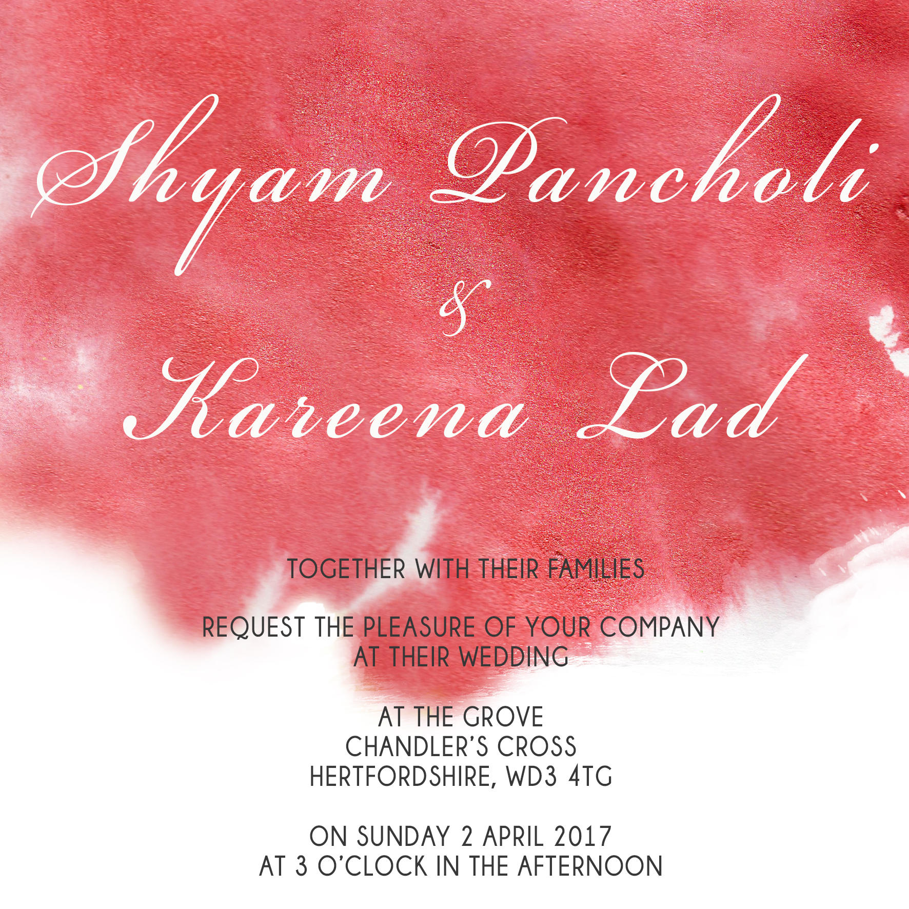 red watercolour wedding stationery