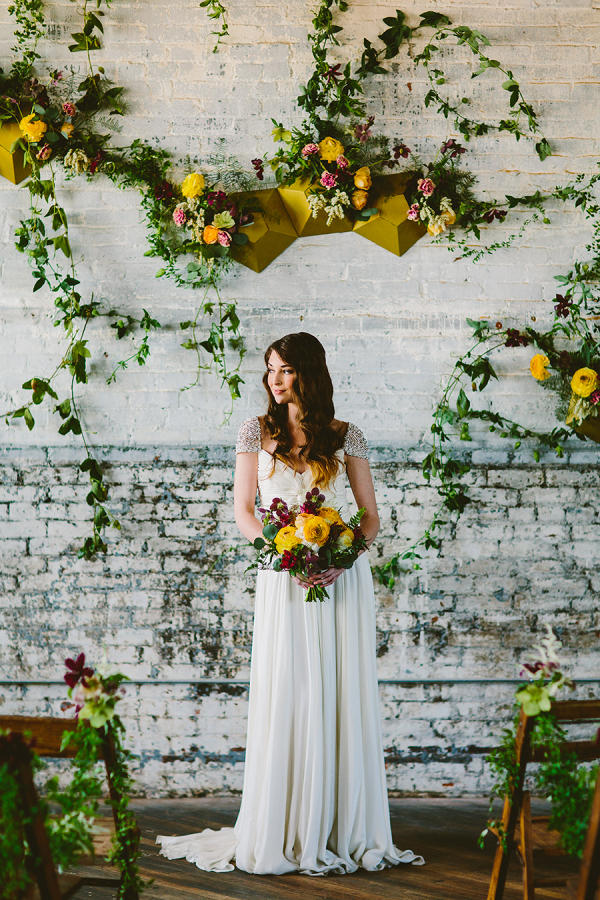 mustard yellow wedding floristry