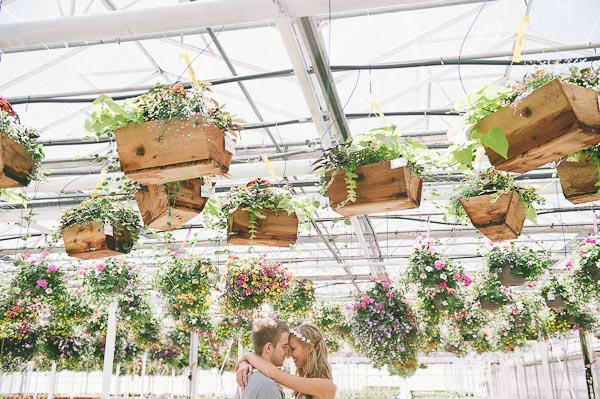 greenhouse theme wedding hanging installation