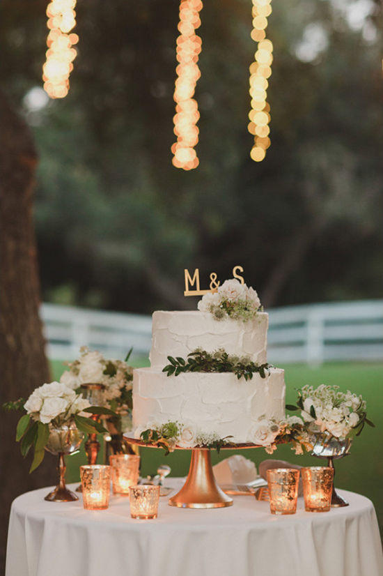 copper trend wedding cake display