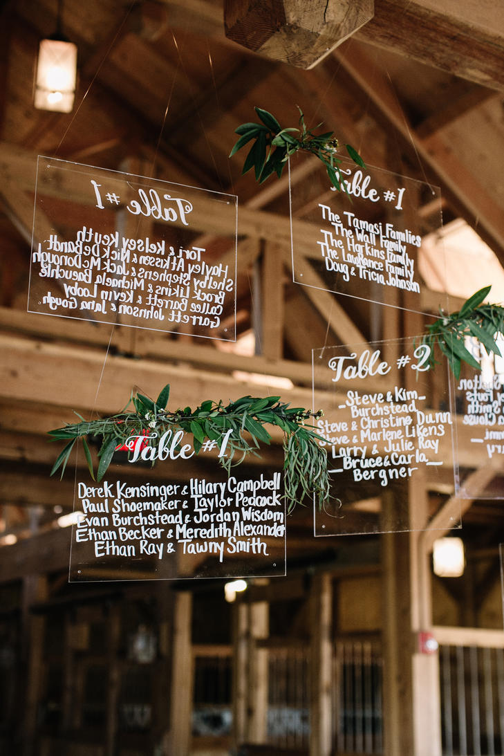 industrial wedding with greenery perspex table signage