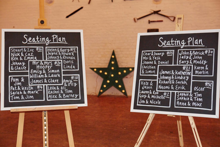 wedding seating plan chalk boards