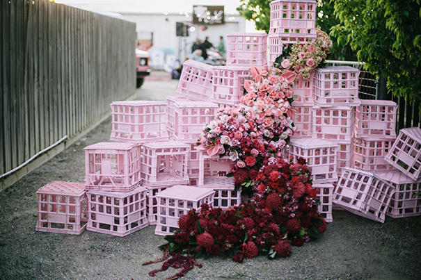 romantic industrial floral display idea