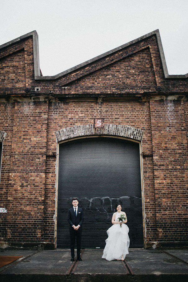 urban wedding at a factory bride and groom