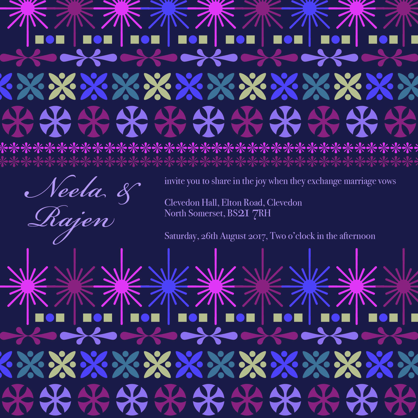 purple tribal wedding stationery