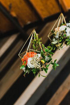 retro urban wedding hanging floral display