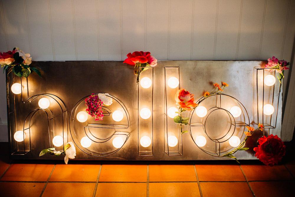 Warehouse wedding hello sign