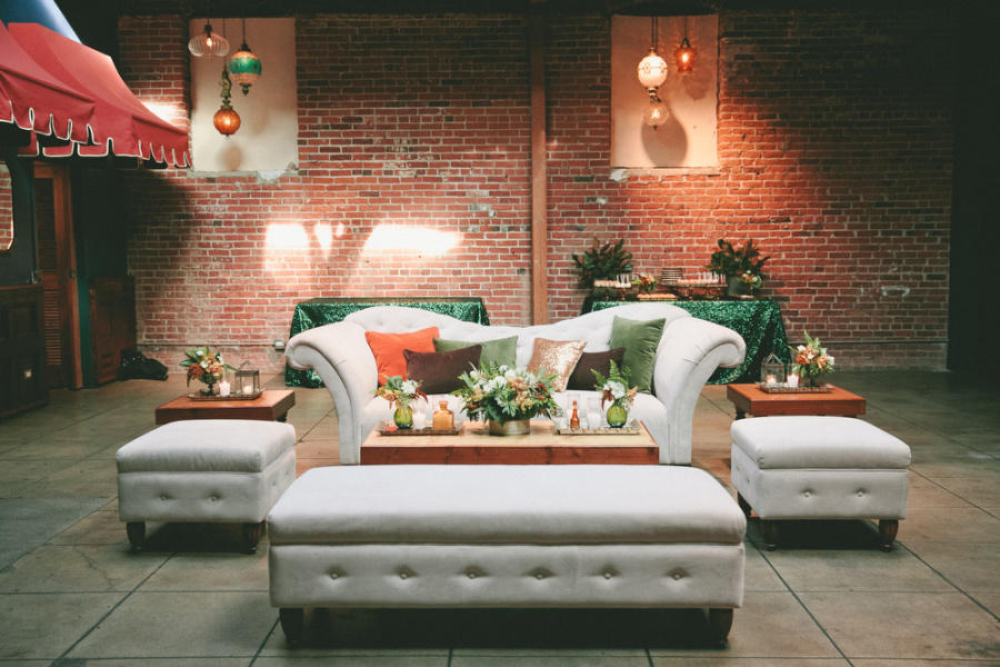 Modern industrial wedding lounge area idea