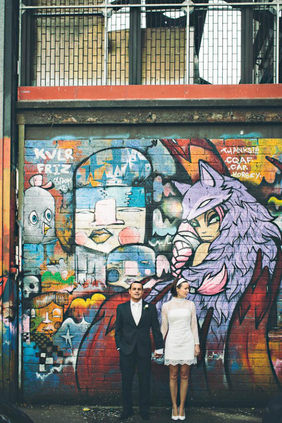 Warehouse wedding graffiti styling