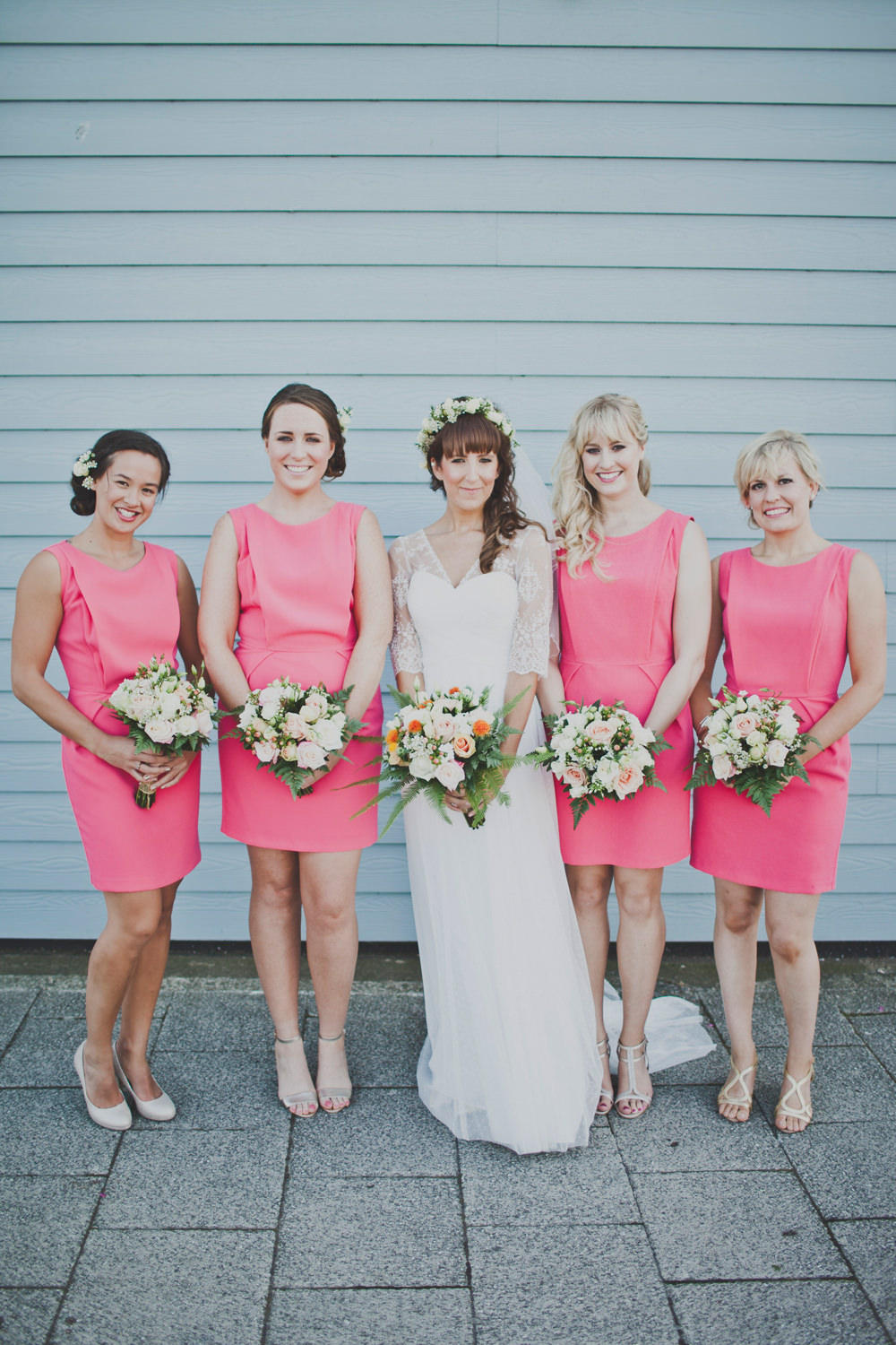 romantic industrial pink bridal group