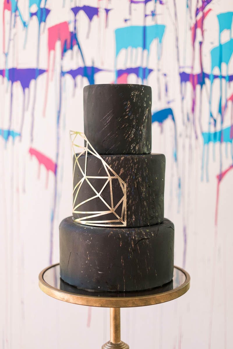 geometric cool black gold wedding cake