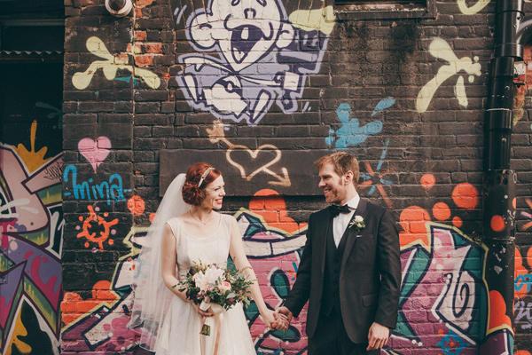 classic urban wedding with graffiti