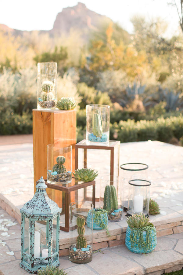 Coachella Festival Wedding assorted cacti display styling