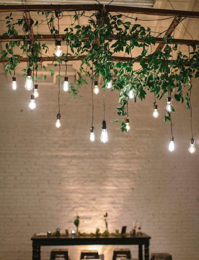 edison lightbulb wedding hanging installation