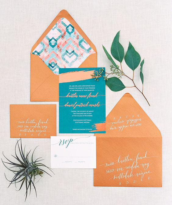 teal and copper wedding invitations