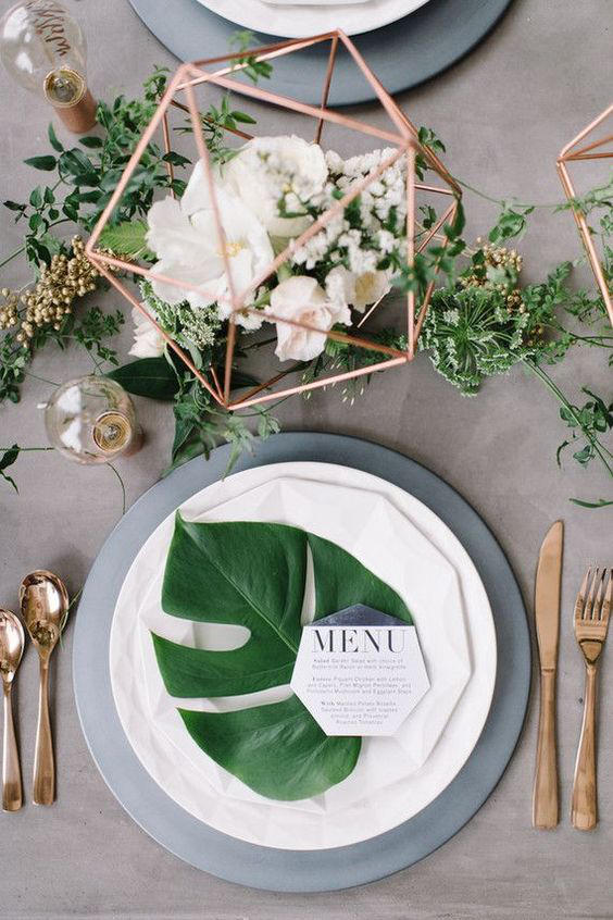 Warehouse wedding place setting