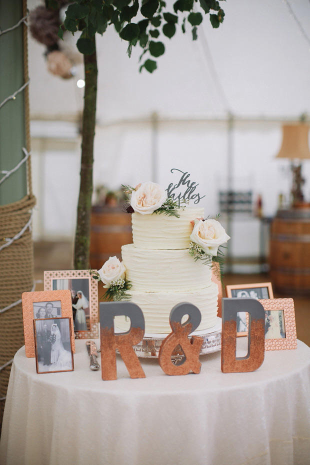 colour schemes copper and grey cake display