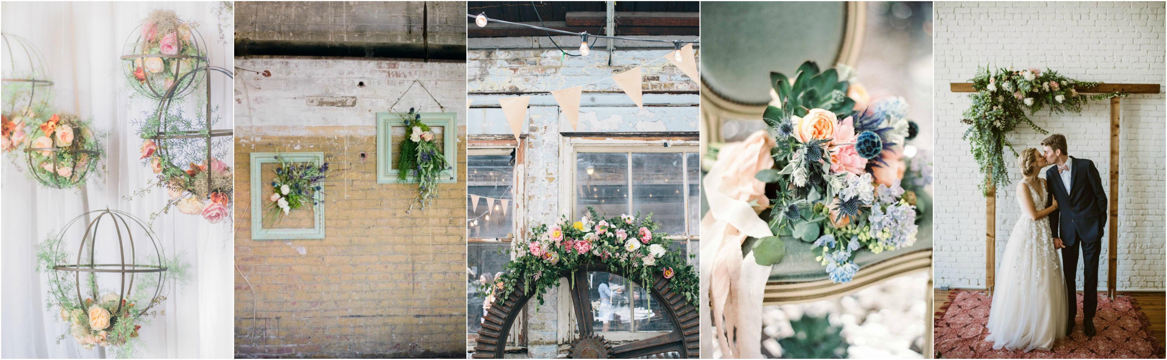 spring wedding industrial blooms