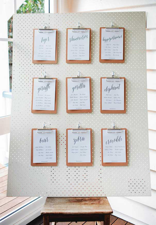 wedding seating plan clipboards