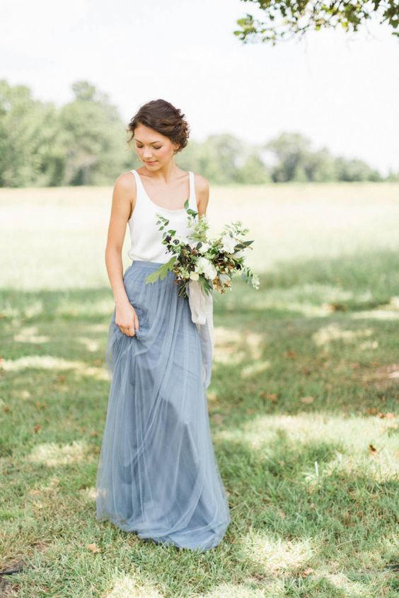 Bridal Separates ivory and grey