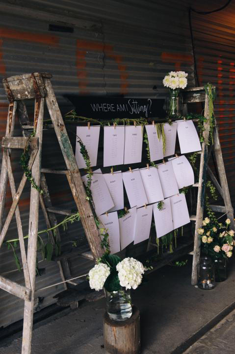 wedding seating plan step ladders styling