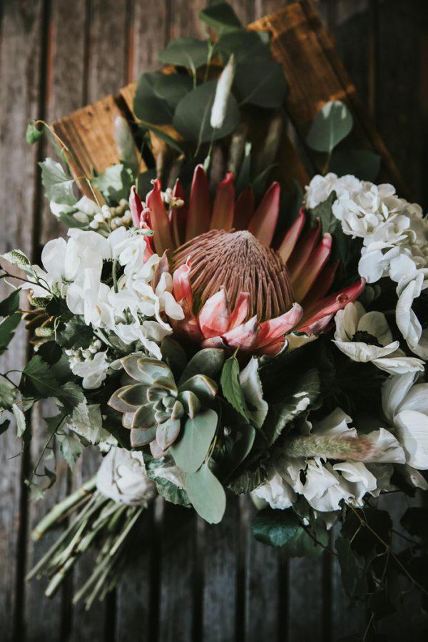 wedding succulents hand tied bouquet idea