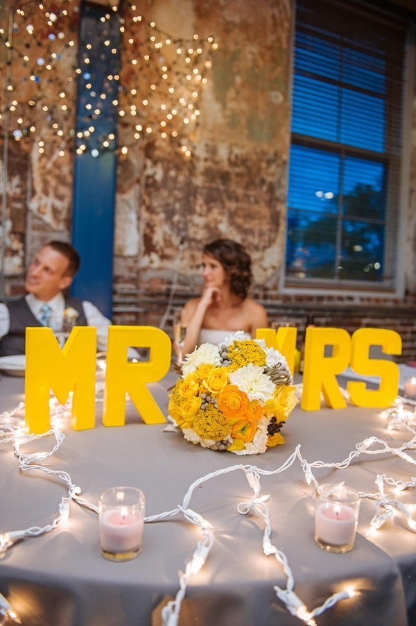 mustard yellow wedding table diaplay