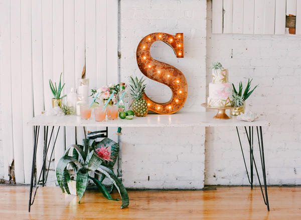 tropical wedding large letter styling