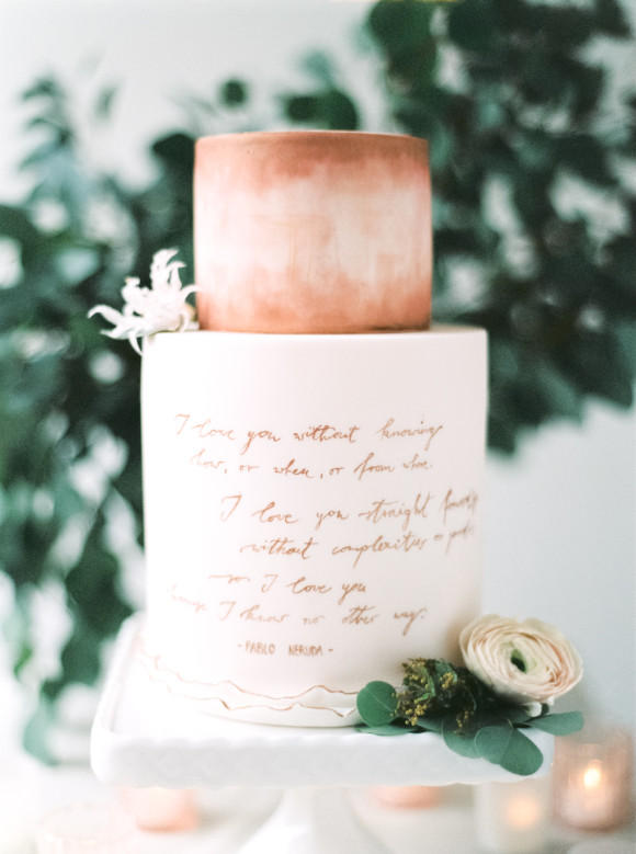 forest green wedding cake styling