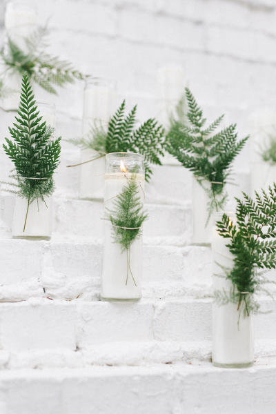 minimalist wedding ferns styling idea