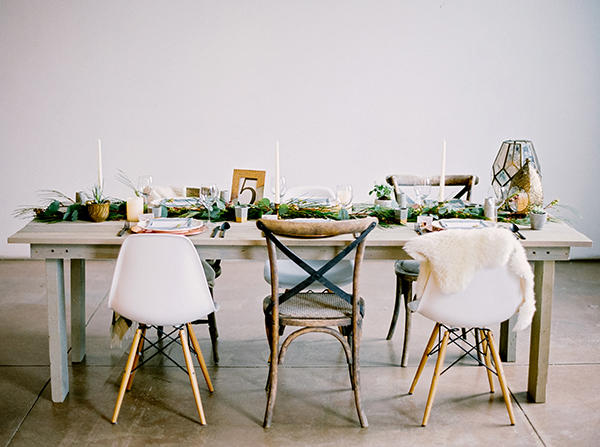 Greenhouse wedding seating styling