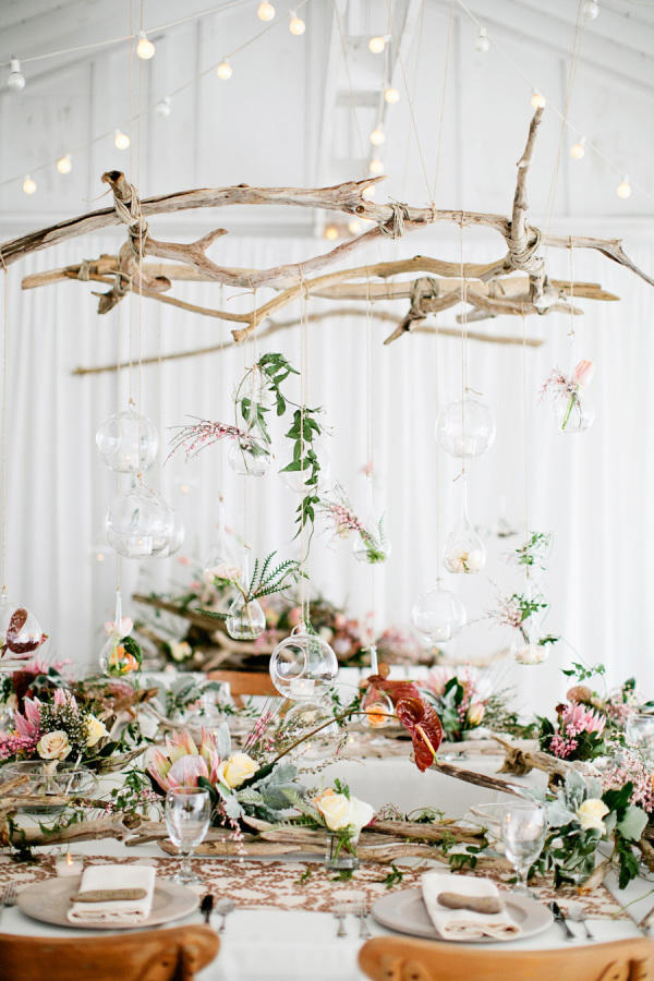 drift wood natural wedding hanging installation