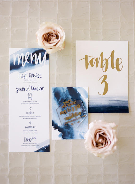Blue gold wedding stationary