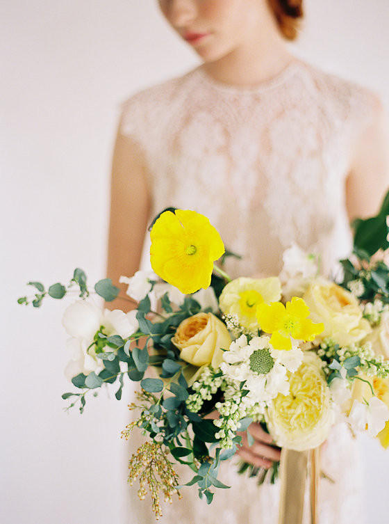 mustard yellow wedding bouquet styling