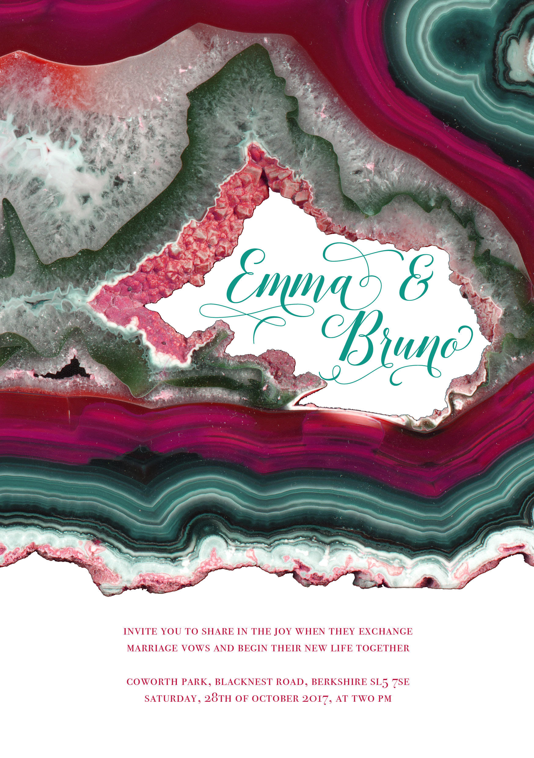 rich geode wedding stationery