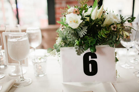 monochrome wedding table numbering