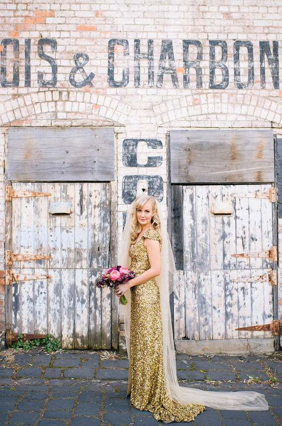 winter wedding bride wearing gold