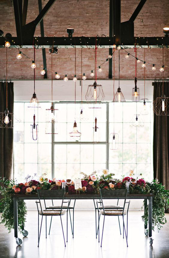 Edgy Lighting Ideas for Your Wedding mixed industrial