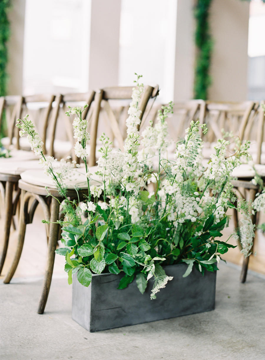 urban chic meets rustic wedding flower display