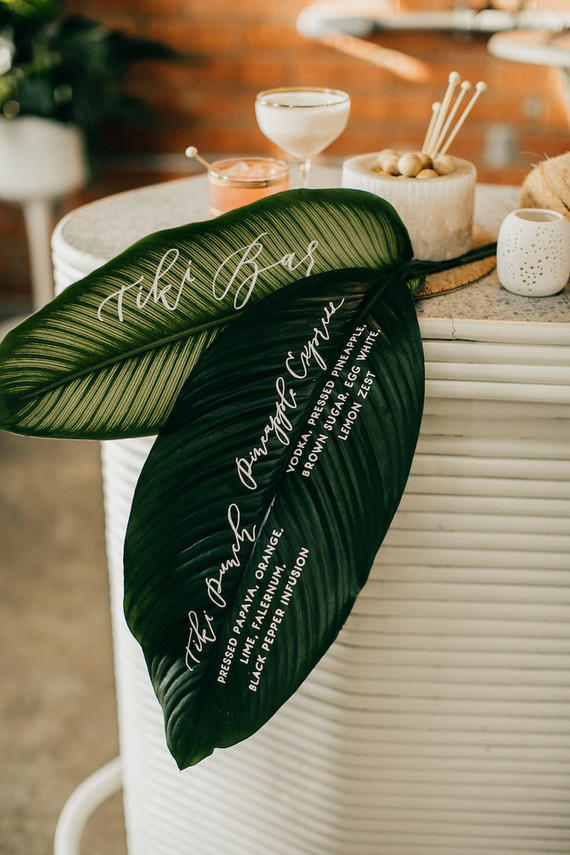 tropical wedding printed leaves