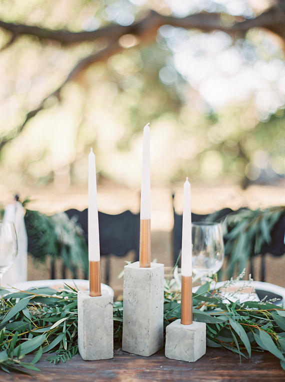 concrete wedding candle styling