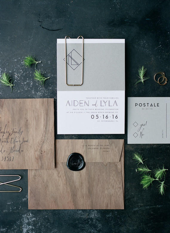 minimalist wedding stationery styling