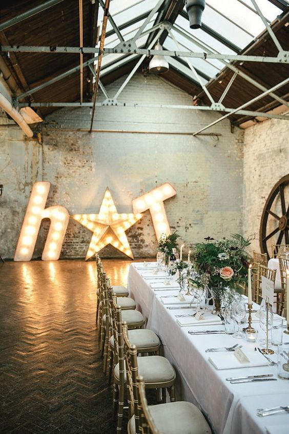 warehouse wedding light up letters