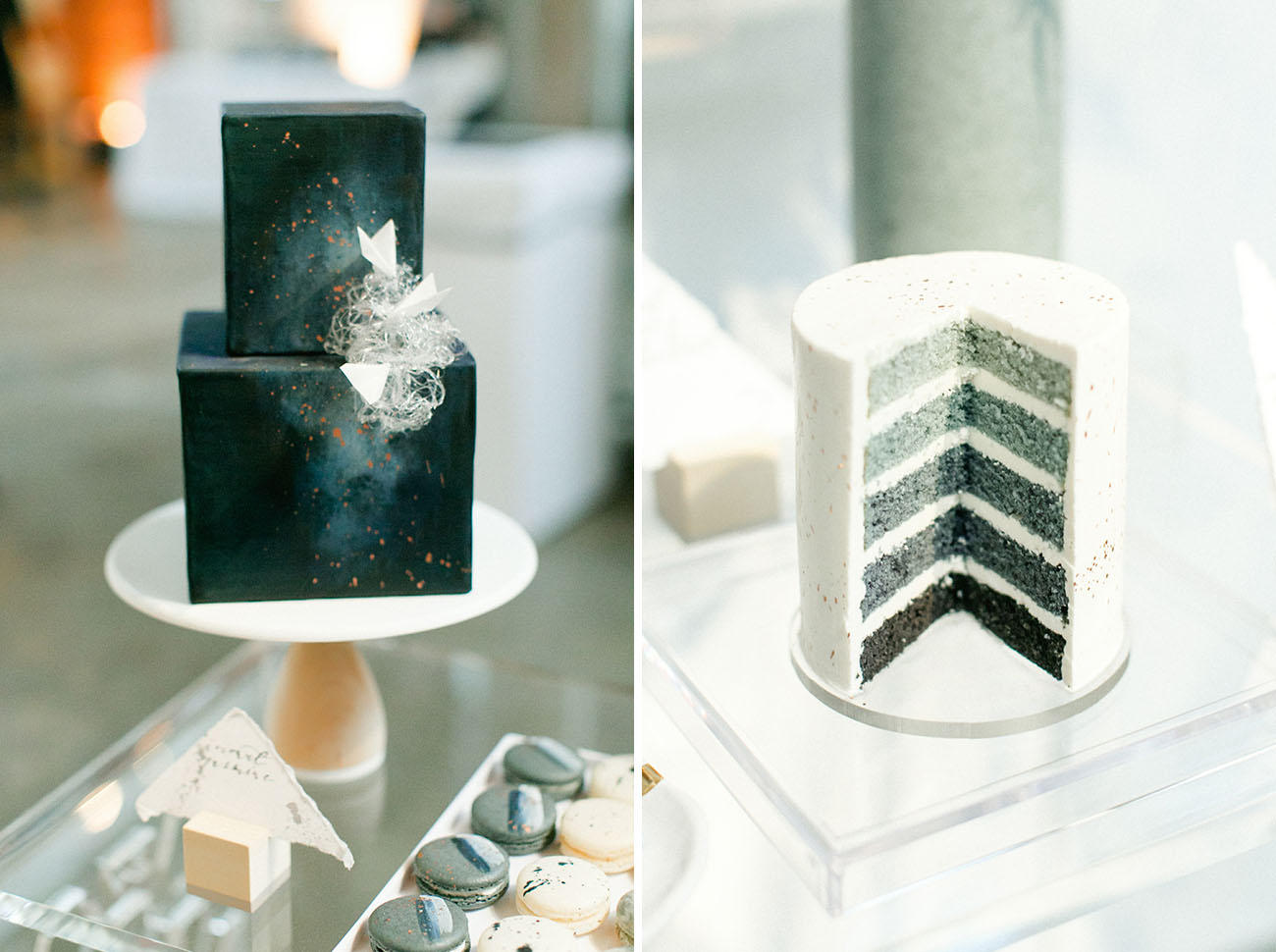Shades of grey wedding cakes