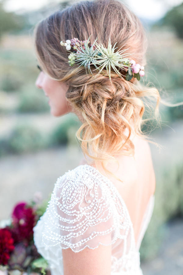 wedding succulents hair style idea