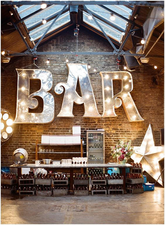 Edgy Lighting Ideas for Your Wedding large letters