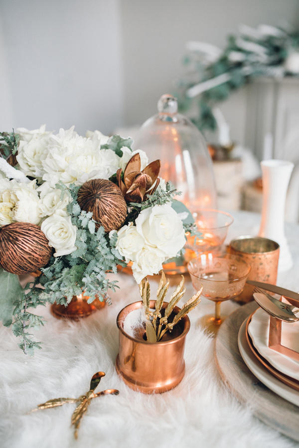 copper trend wedding table decor