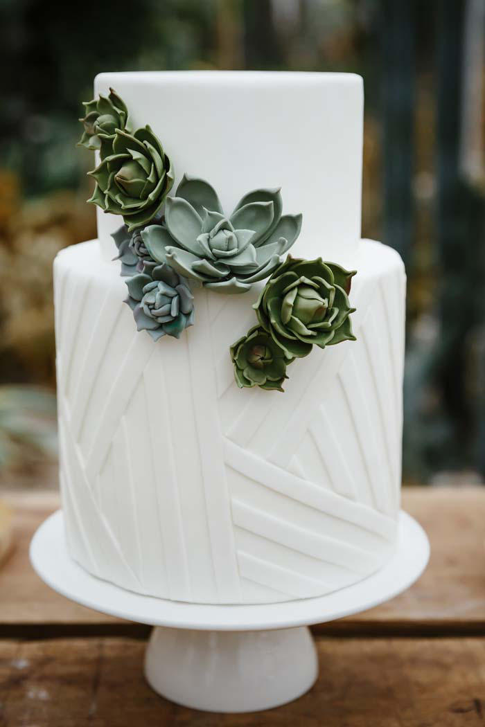 industrial wedding succulents theme cake