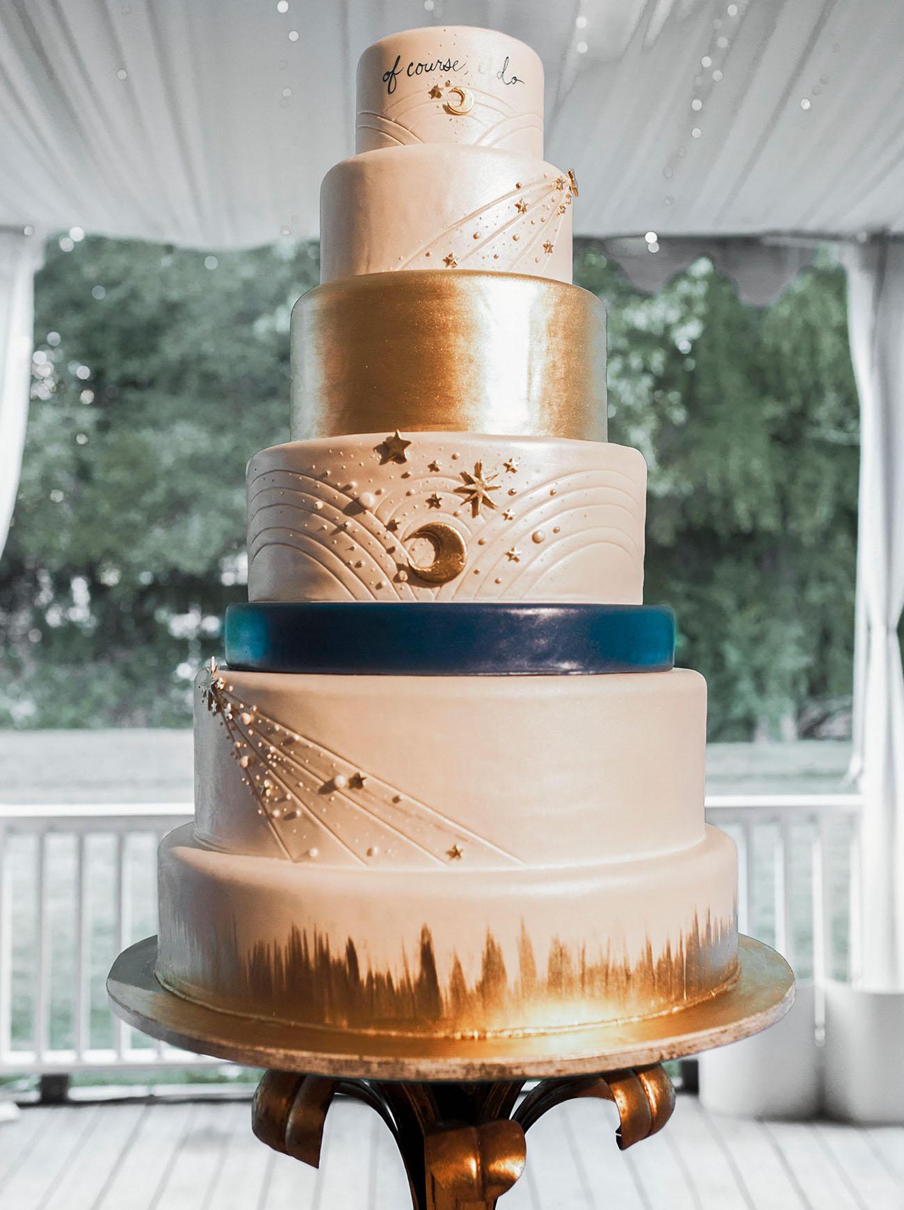 celestial wedding ideas 6 layer cake styling